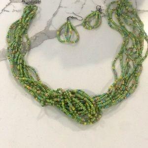 Jewelry - Handmade multi strand beaded necklace/ earring set